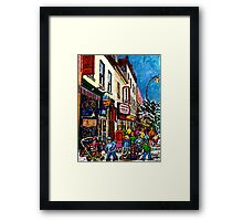 RUE ST.LAURENT WITH SCHWARTZ'S DELI WINTER MONTREAL CITY SCENE ART Framed Print