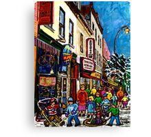 RUE ST.LAURENT WITH SCHWARTZ'S DELI WINTER MONTREAL CITY SCENE ART Canvas Print