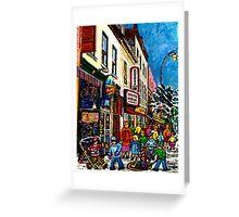 RUE ST.LAURENT WITH SCHWARTZ'S DELI WINTER MONTREAL CITY SCENE ART Greeting Card