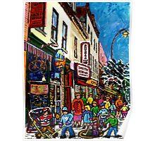 RUE ST.LAURENT WITH SCHWARTZ'S DELI WINTER MONTREAL CITY SCENE ART Poster
