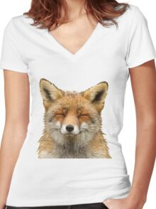 Cute Fox Women's Fitted V-Neck T-Shirt