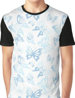 Abstract Blue Butterfly Print Pattern Graphic T-Shirt