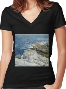 Vintage famous art - Childe Hassam - The South Ledges, Appledore Women's Fitted V-Neck T-Shirt