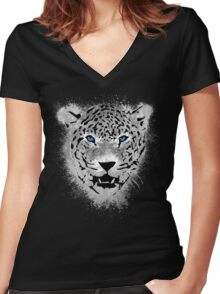 White Tiger - Paint Splatters Dubs T-Shirt Stickers Art Prints Women's Fitted V-Neck T-Shirt