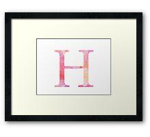 Eta Pink Watercolor Letter Framed Print
