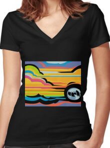 Fast Car - Abstract Graphic Women's Fitted V-Neck T-Shirt