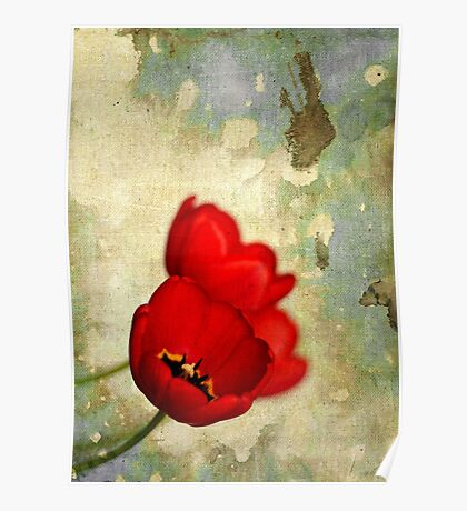 Lovely Red Flowers With Moody Grunge Canvas Texture and Stains Poster