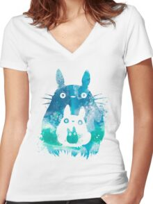 My Neighbor Totoro Watercolor  Women's Fitted V-Neck T-Shirt