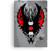 PUNK ROCK DJ Vinyl Record Art with Tribal Spikes and Wings  Canvas Print