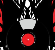 PUNK ROCK DJ Vinyl Record Art with Tribal Spikes and Wings  Sticker