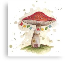 Toadstool House with Prayer Flags Canvas Print