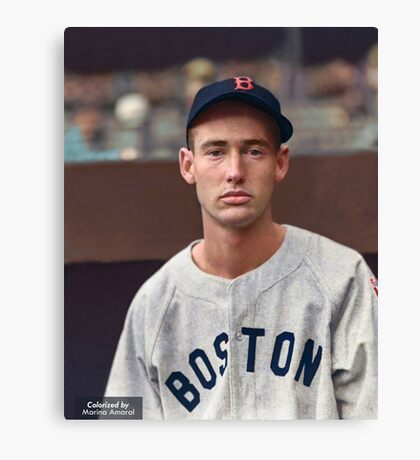 Ted Williams - Colorized Portrait Canvas Print