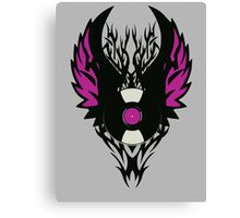 Vinyl Record Retro Punk Spikes Tribal with Wings - Purple Design Canvas Print