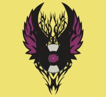 Vinyl Record Retro Punk Spikes Tribal with Wings - Purple Design Kids Tee