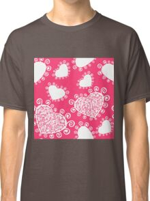White Heart Designs on a Pink Background Classic T-Shirt