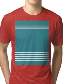 Trendy Turquoise and White Stripes Design Tri-blend T-Shirt