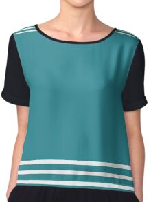 Trendy Turquoise and White Stripes Design Chiffon Top