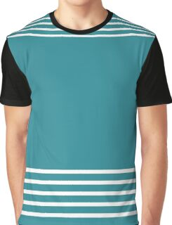 Trendy Turquoise and White Stripes Design Graphic T-Shirt