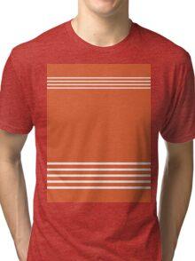 Trendy Orange and White Stripes Design Tri-blend T-Shirt