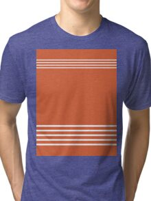 Trendy Orange and White Stripes Design Tri-blend T-Shirt