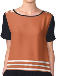 Trendy Orange and White Stripes Design Chiffon Top