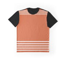 Trendy Orange and White Stripes Design Graphic T-Shirt