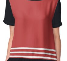 Trendy Red and White Stripes Design Chiffon Top