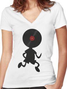 Vinyl Man! Vinylized!!! Vinyl Records DJ Retro Music Lovers T-Shirt Stickers Prints Women's Fitted V-Neck T-Shirt