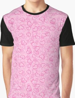 Abstract Hearts and Flowers Print Graphic T-Shirt