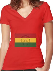 Rasta Colors Peace Symbol Women's Fitted V-Neck T-Shirt