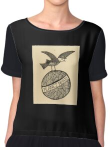 Planet music bird retro illustration Chiffon Top
