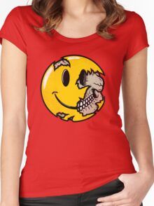 Smiley face skull Women's Fitted Scoop T-Shirt