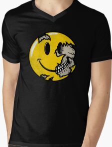 Smiley face skull Mens V-Neck T-Shirt