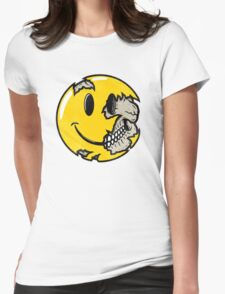 Smiley face skull Womens Fitted T-Shirt