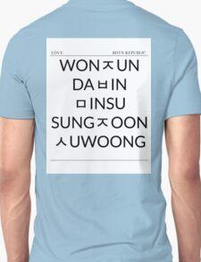 Boys Republic Hangeul List Unisex T-Shirt