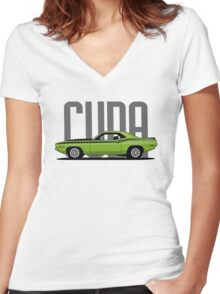 Plymouth 'Cuda '1970 (green) Women's Fitted V-Neck T-Shirt