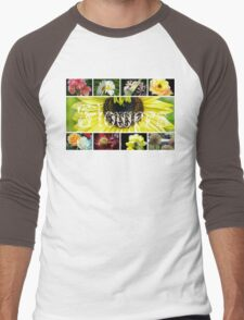 Fancy Flowers Collage Men's Baseball ¾ T-Shirt