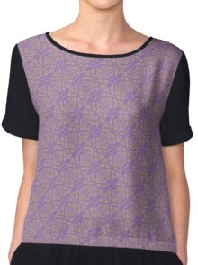 Purple & Yellow Graphic Floral Pattern  Chiffon Top