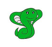 cobra snake sweet cute little comic cartoon Photographic Print