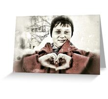 hand heart in the snow Greeting Card
