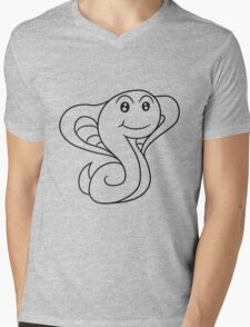 cobra snake sweet cute little comic cartoon Mens V-Neck T-Shirt