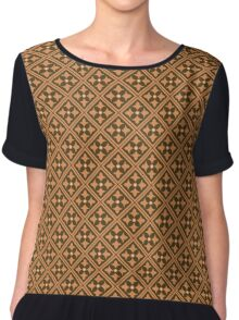 Brown Abstract Floral Graphic Pattern  Chiffon Top