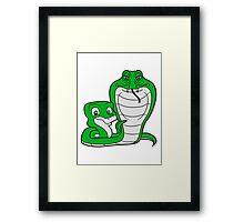 cobra papa mama child boy family cute cute comic cartoon snake fathers day mothers Framed Print