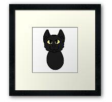 Black Cat Cartoon Headshot Framed Print