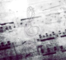 Music! Treble clef with Grunge Vintage Texture - DJ Retro Music  by Denis Marsili