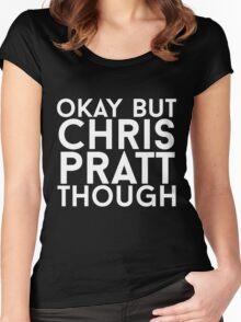 Chris Pratt - White Text Women's Fitted Scoop T-Shirt