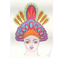 Orange skullcap woman Poster
