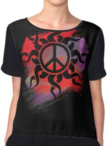 Cool Peace Sign with Paint - T Shirts Art Prints and Stickers Chiffon Top