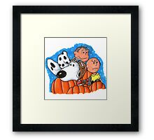 1snoopy and charlie brown Framed Print