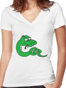 knot knotted snake funny comic cartoon Women's Fitted V-Neck T-Shirt